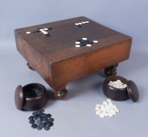 Antique Japanese Wooden Goban Go Game Board & Slate & Shell Stones
