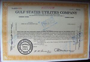 Gulf States Utilities Stock certificate 1000 Shares Payee Cost & Co, 1965