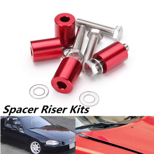 Red Car Engine Motor Swap Hood Vent Spacer Riser Kits With 4pcs Mounting Bolts