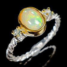Beauty Rainbow7x5mm Natural Opal 925 Sterling Silver Ring Size 6.75/R122069