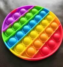 Rainbow Circle Push Pop Bubble Fidget Sensory Toy Stress Relief Game Kids Adult
