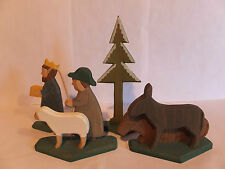 GERMAN WOOD CARVED CHRISTMAS NATIVITY  FIGURES AND ANIMALS