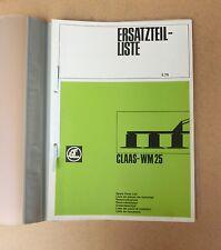 CLAAS Wirbelmäher WM 25  Ersatzteilliste 1978