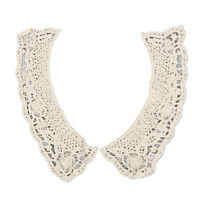 beige cotton flower cut-out lace collar charming sewing applique style 01 I7W3