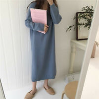 Korean Causal Autumn Winter Women V Neck Fashion Long Sleeve Loose Sweater Dress