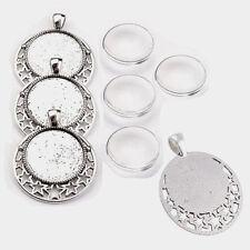 4 SET Cabochon Klar Glas 25mm Silber Fassungen Anhänger Medaillons Basteln DIY