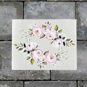 2 x Pink Rose Flower Vinyl Stickers Decals Wall MacBook Laptop iPad - SKU7188