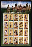 SCOTT 3072-76 1996 32 CENT AMERICAN INDIAN DANCERS ISSUE PANE OF 20 MNH OG VF!