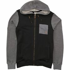 2016 NWT MENS BILLABONG HUDSON ZIP UP HOODIE $80 L black speckeld french terry