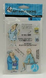 Art Impressions Nurse Clear Stamps NIP New Medical Get Well Humor Health Dr
