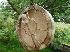 NATIVE AMERICAN HAND DRUM BUFFALO HIDE FRAME DRUM 12 INCHES ,\. WITH BEATER-->>