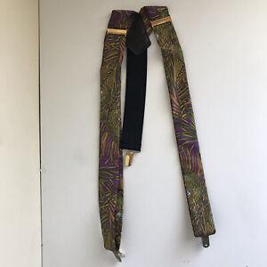 VTG Silk Suspenders Braces Pelican Gold Brass Adjusters Art Deco Floral Print