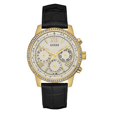 NEW GUESS WATCH for Women Multi-Function Gold Tone Case w/Black Leather U0643L2