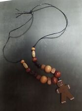 Rare Wood Gingerbread Man Artisan Craft Necklace (Approx 12 in)