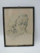 Zeichnung Tusche Kreide Portrait nachdenklich Pose Dame Mädchenporträt sign Benn