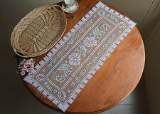 Hand Tuscany Filet Lace Pink Flower Cotton Table Runner Rectangle 40x96CM White