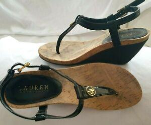 RALPH LAUREN Black Patent T-Strap Logo CHARM Thong Wedge Sandals Size 8