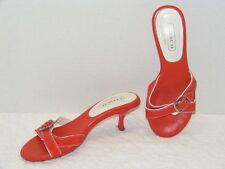 "COACH ""LANDIS"" RED LEATHER & PATENT LEATHER STRAPS SLIDE SANDAL Size 6.5B GUC"