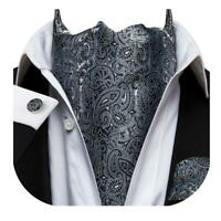 Gray Black Paisley Mens Silk Ascot Cravat Tie Set Wedding Business Jacquard