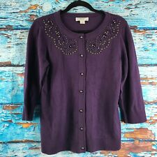 Christopher and Banks Cardigan Sweater Purple Small 3/4 Sleeve Beaded