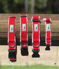 Dog Collar Adjustable Red Fleece Lined SM MED LG XLG