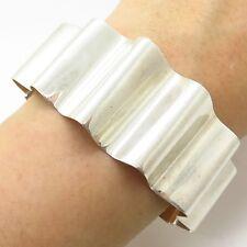 """925 Sterling Silver Wide Modernist Wavy Cuff Bracelet 7"""""""
