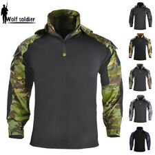 Mens Military Long Sleeve T-Shirt Tactical G3 Combat Casual Army Zip Hooded Camo