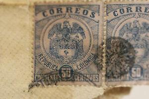 2 selten very old stamp Colombia Briefmarke Kolumbien Brief um 1900