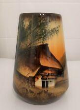 SCHRAMBERG MAJOLIKA Vase handbemalt 16cm - Schwarzwald - Malerei !!! I61