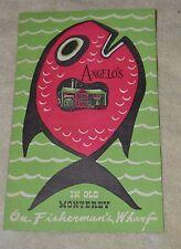 VINTAGE ANGEL'S MENU IN OLD MONTEREY ON FISHERMAN'S WHARF 1940's