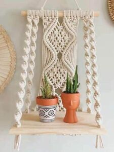 Woven Tapestry Shelf Cotton Rope Handmade for Home Boho Decoration Wall Mounted