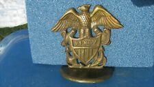 Vintage Brass Winged Eagle US NAVY Flag Shield Anchor Doorstop Bookend Patina