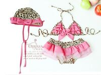New baby & toddler girls Swimwear Leopard bikini kids Swimsuit &skirt & hat 1291
