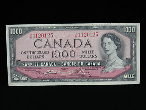 1954 $1000 Dollar Bank of Canada Banknote A/K1120125 Lawson Bouey VF+ Grade