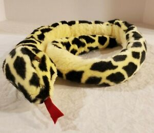 "50"" Yellow and Leopard Black Spotted Jungle Aurora Plush Stuffed Snake Animal"
