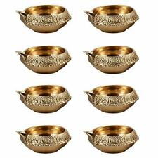 8 Set Indian Diya for Diwali Decoration Made Up Pure Brass Dia Oil Lamp & Gifts