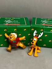 Lot Vtg Disney Pluto & Winnie Porcelain Treasures Ornaments Grolier Collectibles