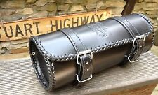 schwarz LEDER Toolbag Werkzeug Lenker Rolle Harley Chopper Tasche