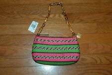 NWT~Eric Javits Pink and Green Woven w Toggle Shoulder Strap