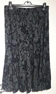Per Una Grey Black Netted Look Jersey Skirt Sz 12 UK Elasticated Stretch Flocked
