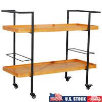 2 Tier Bar Serving Cart Rolling Wooden Wine Cart Home Restaurant Kitchen Trolley