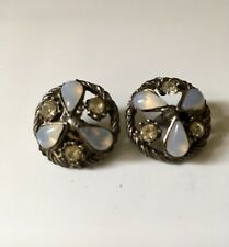 "3/4"" two vintage buttons of Opals and Rhinestones"
