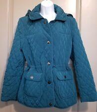 GALLERY Teal Blue Soft Quilted Coat/Jacket Parka Sz M Detach Hood Drwstrng Waist