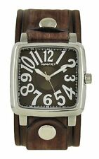 Nemesis 3D Squared Watch with Brown Embossed Vintage Stripes Leather Cuff Band