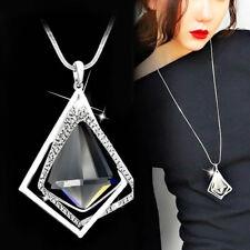 KM_ Women Fashion Diamond Pendant Long Sweater Chain Necklace Party Jewelry Si