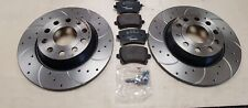 VW PASSAT 2.0TDi 150 BMT B8 BRAKE DISC REAR CROSS DRILLED GROOVED MINTEX PADS