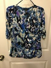 STYLE & CO Shirt Top XL Faux Wrap Spandex Stretch Floral Ruched Sleeves B2