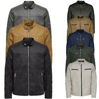 Only & Sons Mens Leather Motorbike Biker Jacket Long Sleeve Outwear Coats
