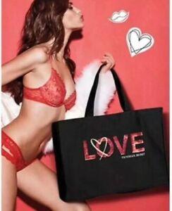 Victorias Secret Love Heart Sequin Beach Large Tote Weekender Bag Black