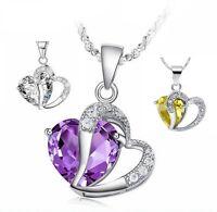Herzkette Anhänger Zirkonia Lila Kordelkette Silber Geschenk Halskette Damen